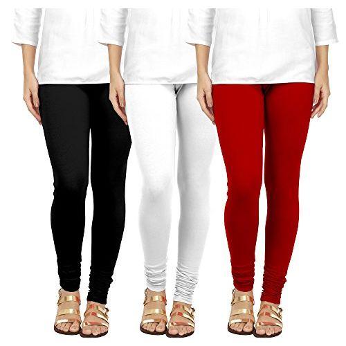Ancientstar Women's Cotton Chudidar Leggings (Black, White, Maroon, 4XL)- Pack of 3