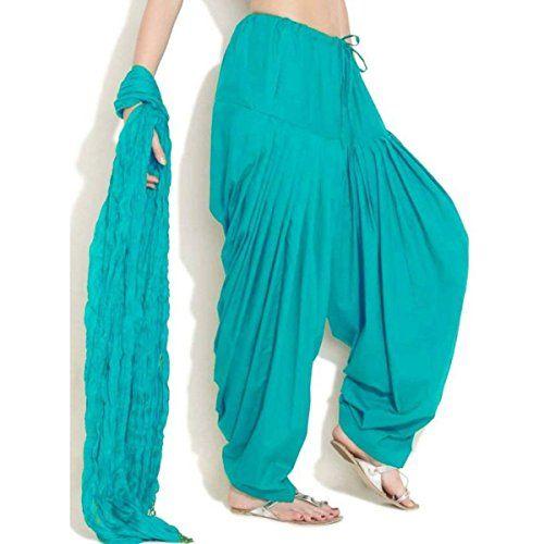 Monique Women's Cotton Solid Patiala Salwar with Dupatta Set (MONIQCPD81RG, Rama Green, Free Size)