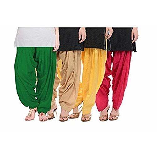 Ample Women's Cotton Patiala Salwar Bottoms (AMZN-00142, Beige, Free Size) -Combo of 4