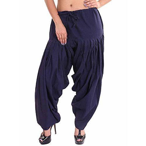 TNQ Women's Pure Cotton Patiala Salwar Combo/Cotton Salwar Pack of 2 Pcs (Free Size) (NAVY BLUE & BROWN, Free Size)