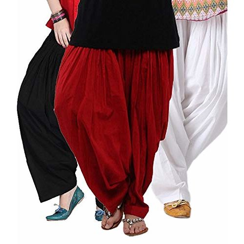 Women's Cotton Traditional Patiala Salwars (Black, Red and White,patiala-3) - Pack of 3
