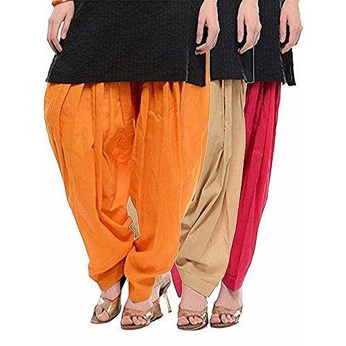 Online Jio Cotton Patiala Salwar Combo (Free Size) (Orange,Skin & Rani)