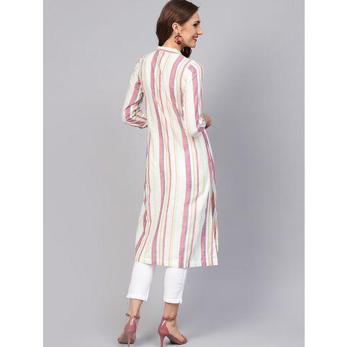 jaipurkurti striped straight kurta pant set