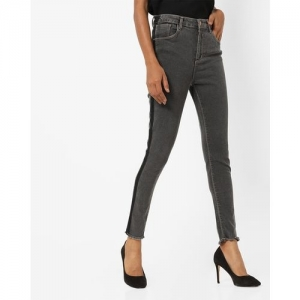 AJIO Mid-Rise Skinny Fit Jeans with Contrast Stripes