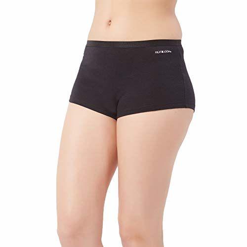 Fruit of the Loom Women's Plain/Solid Boy Shorts (FBYS03_Black Beauty_XXL)