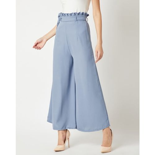MISS CHASE Ankle-Length Wide Leg Palazzos with Fabric Belt