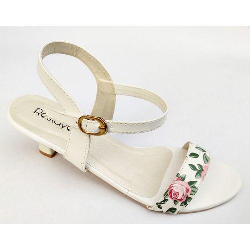 Restayel White Synthetic Leather Heels Sandal