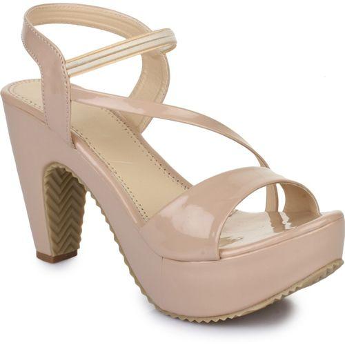 R Dezino Off White Synthetic Leather Heels Sandal