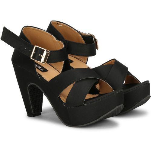 SIRDENILL Black Satin Heels Sandal