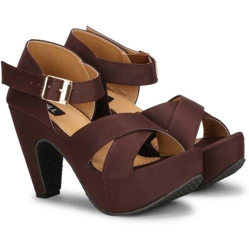 SIRDENILL Brown Satin Heels Sandal