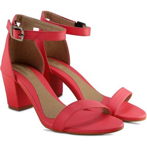 DENIMKEY Pink Synthetic Leather Heels Sandal