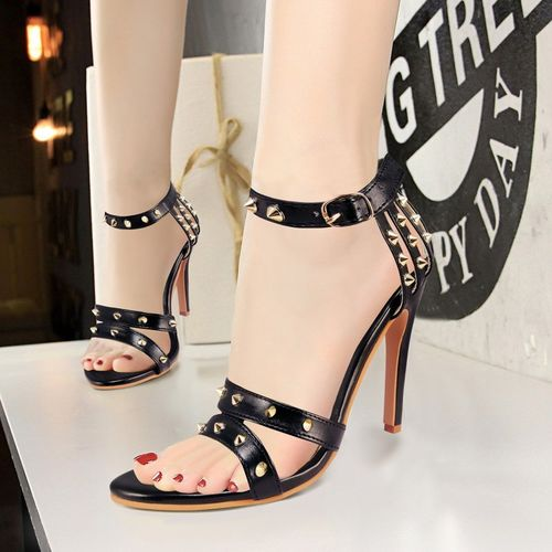 Action Black Synthetic Leather Heels Sandal