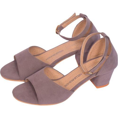 hello fashion Grey Synthetic Heels Sandal