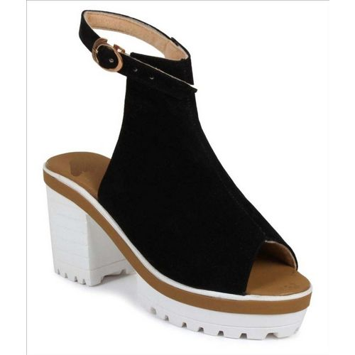 Shoe Cloud Black Synthetic Platform Heel Sandal