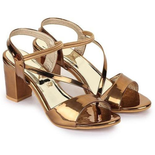 R Dezino Copper Synthetic Leather Heels Sandal