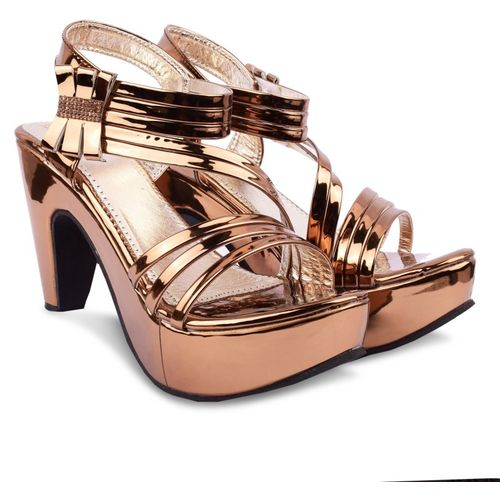 Denill Copper Synthetic Leather Heels Sandal
