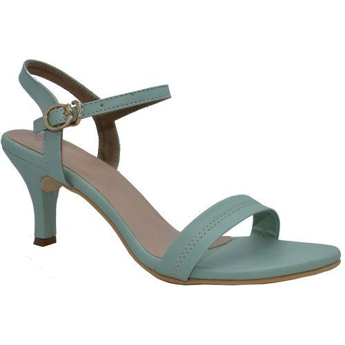 omhira Green Synthetic Leather Heels Sandal