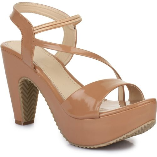 R Dezino Beige Synthetic Platform Heels Sandal