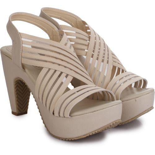 R Dezino Off White Synthetic Platform Heels Sandal