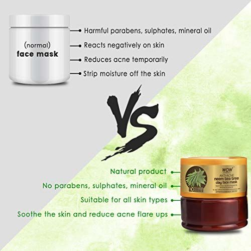 WOW Skin Science Anti-Acne Neem & Tea Tree Clay Face Mask for Refreshing & Refining Acne Prone Skin - For All Skin Types - No Parabens, Sulphate & Mineral Oil, 200 ml
