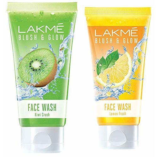 LAKMÉ Lakme Blush & Glow Kiwi Freshness Gel Face Wash, with Kiwi Extracts, 100g And Lakme Blush & Glow Facewash, Lemon Fresh, 100g