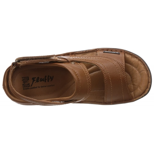 Red Chief Tan Genuine Leather Velcro Sandals