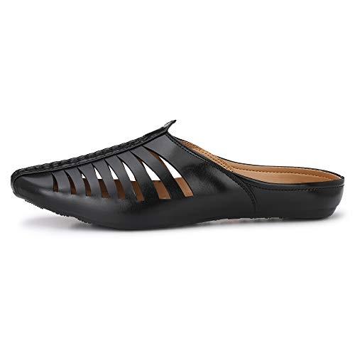 Flooristo Black Leather Slip On Mojari