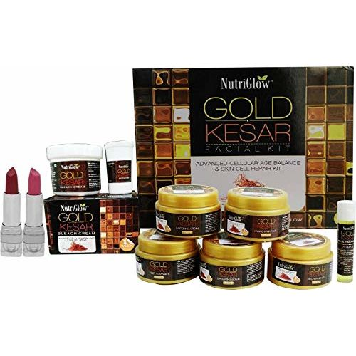 NUTRIGLOW Gold Kesar Facial Kit With Bleach (43 gm) And Lipstick