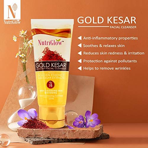NutriGlow Combo Pack Of 3 - Gold Kesar Facial Kit (260 Gm) + Bleach Cream (43 Gm) + Facial Cleanser (65 ml) | Instant Glowing Skin | Suitable For All Types Of Skin