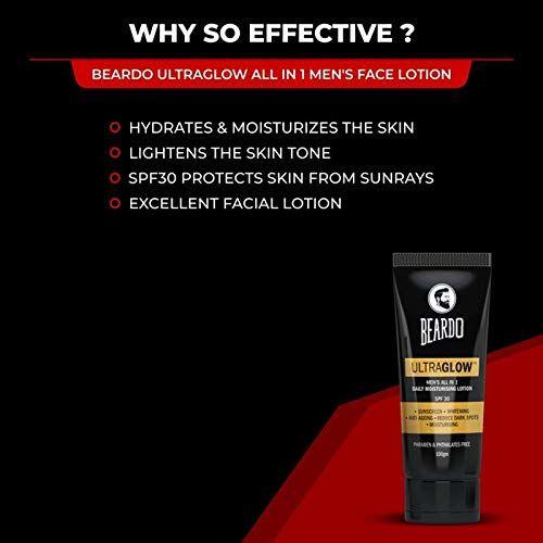 Beardo Activated Charcoal Face Wash, 100ml and BEARDO Ultraglow Face Lotion for Men, 100g Combo