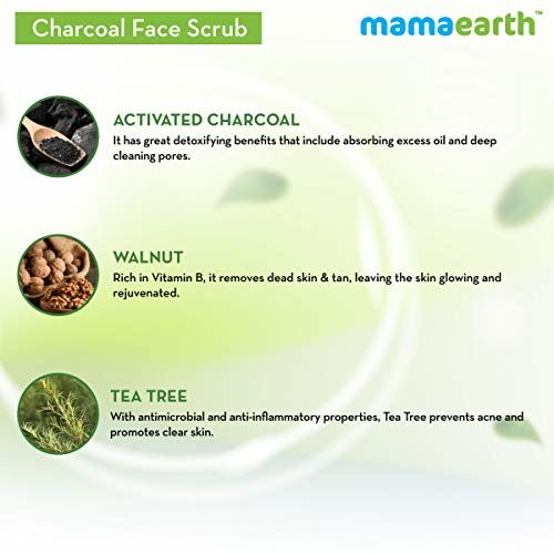 Mamaearth Charcoal Face Scrub For Oily Skin & Normal skin, with Charcoal & Walnut for Deep Exfoliation 100g