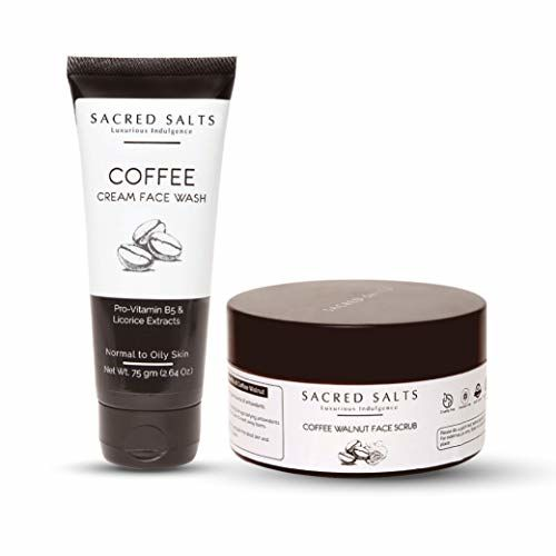 Sacred Salts Coffee Cream Face Wash & Coffee Walnut Face Scrub Deep Cleansing 100% Organic Natural for Men & Women Combo, Brown, 250 g (Pack of 2)