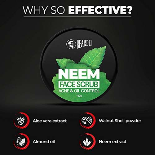 Beardo Neem Face Scrub, 100 gm | Pollution Control | Acne Control | Made in India