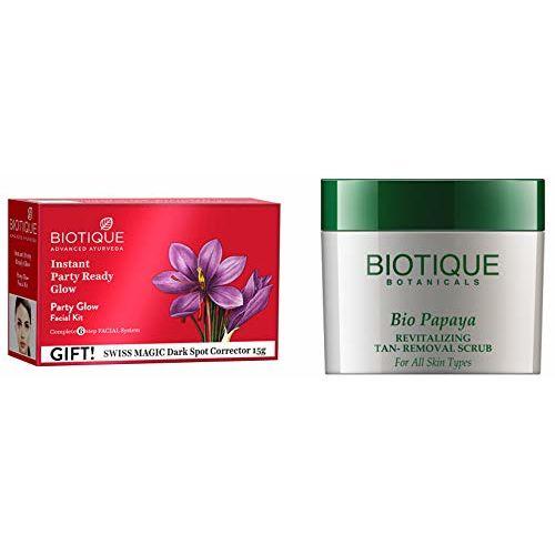Biotique Bio Party Glow Facial Kit, 65 g And Biotique Bio Papaya Revitalizing Tan Removal Scrub, 75g
