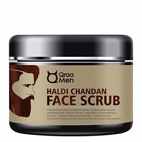 Qraa Men Haldi Chandan Face Scrub for Skin Brightening/Lightening with Turmeric Oil and Sandalwood, 100 g