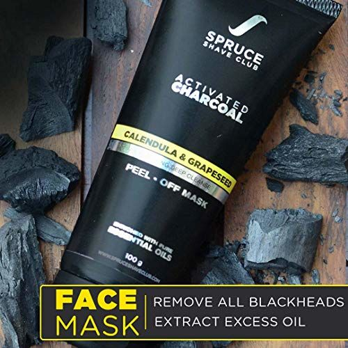 Spruce Shave Club Charcoal Peel Off Mask (100g) For Blackhead Removal & Deep Pore Cleansing - With Pure Essential Oils