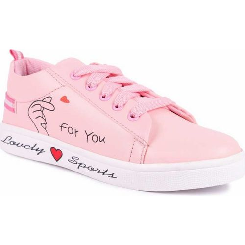 TWIN TOES Pink Synthetic Lace Up Sneakers