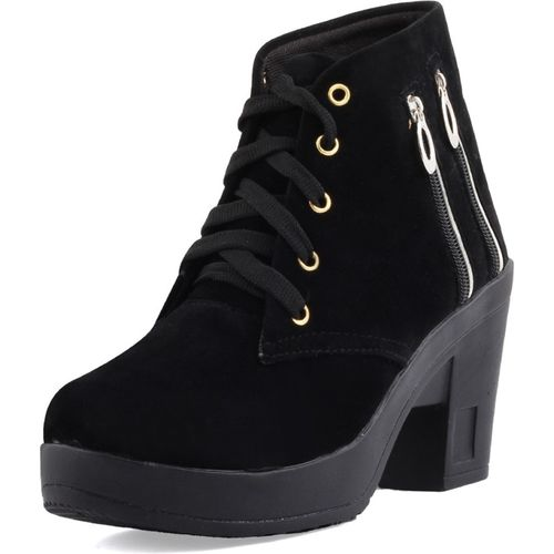 ABJ Fashion Double Zip Lace Up Boots For Women(Black)