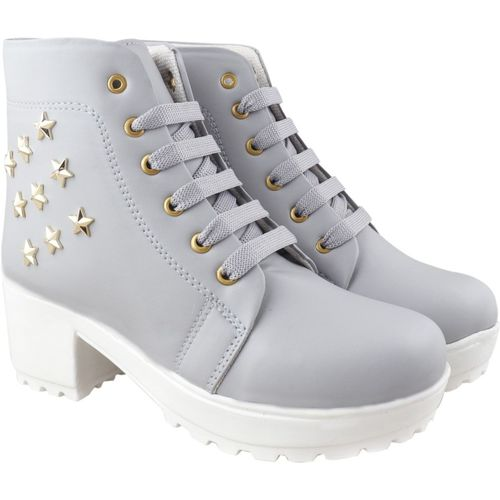 TWIN TOES Girls Stylish & Comfortable | Casual | Party Wear Boots For Women(Grey)