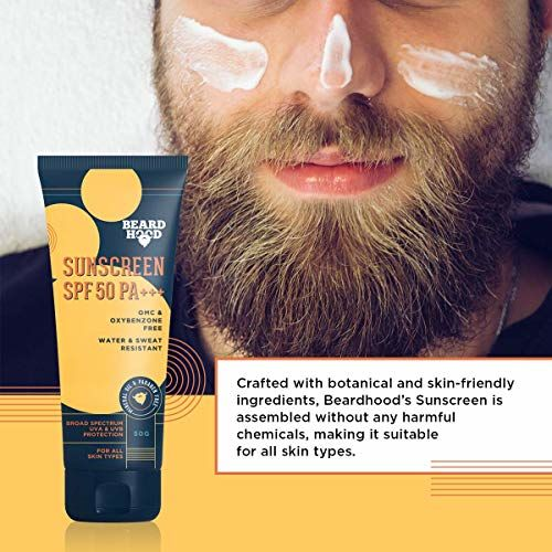 Beardhood SPF 50 PA+++ OMC & Oxybenzone Free Sunscreen, Water & Sweat Resistant, 50g