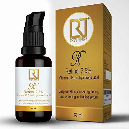 ROYAL NEEDS ; YOUR HIGHNESS Retinol 2.5% +Vitamin C and E, Hyaluronic, Glycolic Acid Facial Serum for Deep Wrinkle Repair, Acne Treatment (30ml)