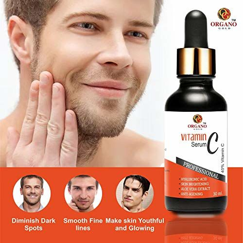 Organo Gold Vitamin C Serum for face with hyaluronic acid for pigmentation, facial oil for anti aging, anti wrinkle, skin lightening, skin brightening for men