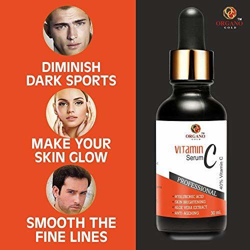 Organo Gold Vitamin C Serum for face with hyaluronic acid for pigmentation, facial oil for anti aging, anti wrinkle, skin lightening, skin brightening for men