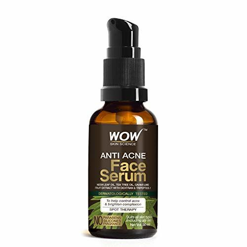 WOW Skin Science Anti Acne Face Serum - Natural Neem Leaf Oil, Tea Tree Oil, Caviar Lime Fruit Extract - Spot Therapy - No Parabens, Silicones & Fragrance - 30ml