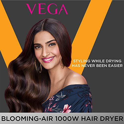 VEGA Blooming Air 1000w Compact and Foldable Hair Dryer (VHDH-05), Color May Vary, 438 g & VEGA Round Brush With Clip (E20-RB), Orange, 134 g