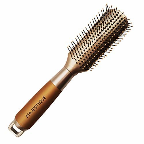 Majestique Fusion Vent Brush with Tipped Nylon Bristles for Blowouts, Blow Drying, Styling, Volumizing & Detangling Medium to Long, Straight, Wavy, Curly,