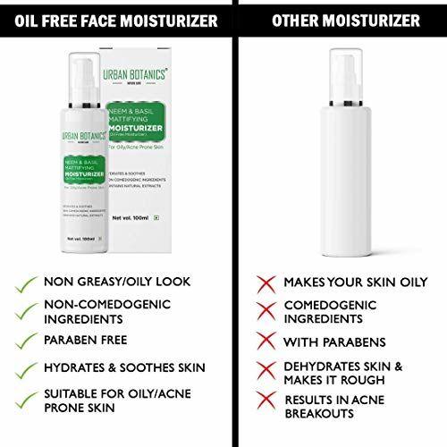 UrbanBotanics Oil Free Moisturizer For Face - Mattifying Moisturiser Face Cream for Oily/Acne Prone/Normal Skin - with Neem Basil Extract - 100ml
