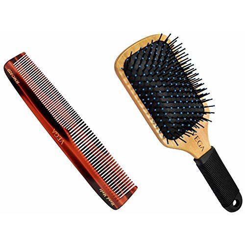 VEGA Graduated Dressing Comb, Handmade (HMC-32D), Brown, 54 g & VEGA Wooden Paddle Brush (E1-PB), Brown, 118 g