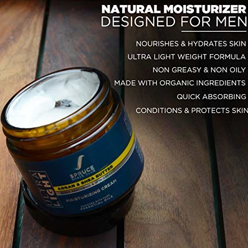 Spruce Shave Club Natural Moisturizer For Men | Ultra Light & Non Greasy Moisturizing Cream With Shea Butter, Argan Oil & 10 Natural Ingredients | No Silicones,