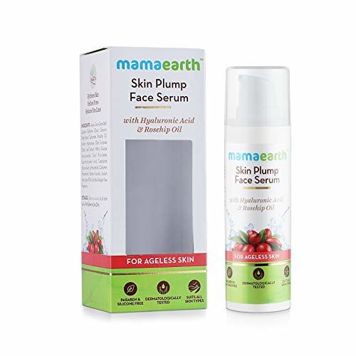 Mamaearth Skin Plump Face Serum Anti Aging Cream For Glowing Skin, With Hyaluronic Acid & Rosehip Oil for Ageless Skin - 30ml